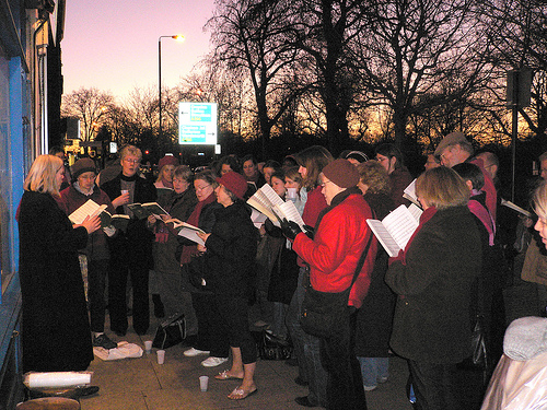 Christmas caroling at Happy Simple Living blog