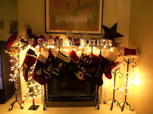 Stockings hung at the chimney