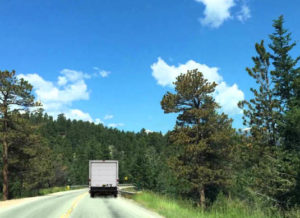 Behind a truck on the road to Estes Park