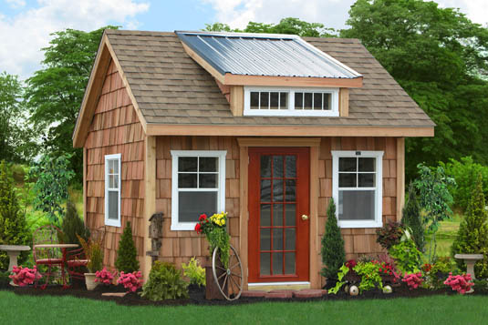 Siding: Cedar Shakes, Trim: Cedar Shakes/White, Door: Red, Roof: Light Brown/Metal - This is a custom building.