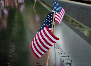 Flags at the 9/11 memorial