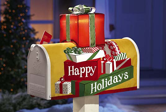 festive holiday mail box cover