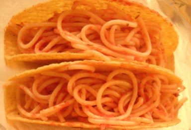Spaghetti tacos from Happy Simple Living