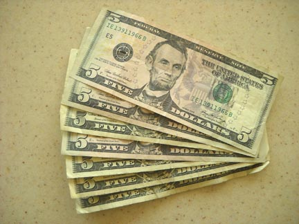 Simple living savings with five dollar bills