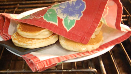 Keeping homemade pancakes warm | Happy Simple Living