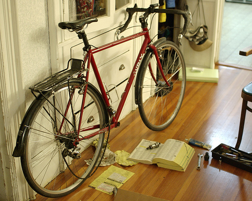 Bicycle maintenance at Happy Simple Living