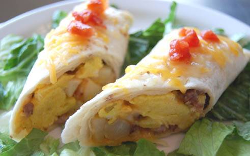 Breakfast burrito at Happy Simple Living blog