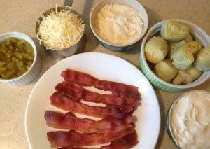 Hot bacon dip ingredients at Happy Simple Living blog