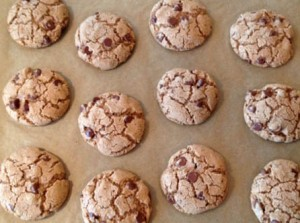 Baking chocolate chip cookies at Happy Simple Living blog