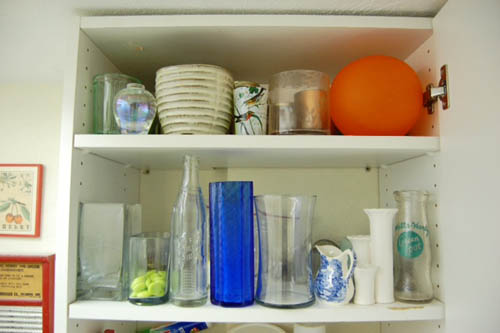 Crowded cabinet at Happy Simple Living blog