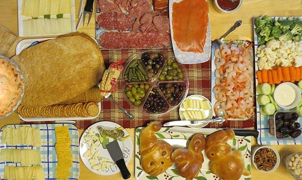 Holiday food buffet