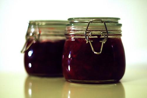 Jars of cranberry preserves