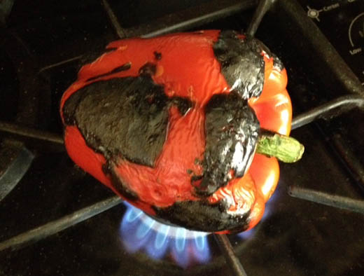 Roast your own red bell peppers