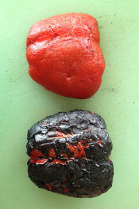 Peeled and unpeeled roasted red peppers