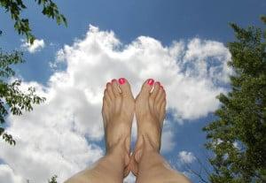 Feet against the sky