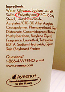 Polyethylene microbeads in Aveeno Positively Radiant cleanser