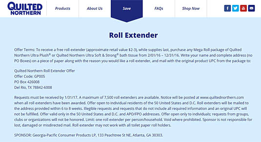 Quilted Northern Roll Extender Offer | Happy Simple Living blog