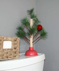 Christmas tree toilet plunger