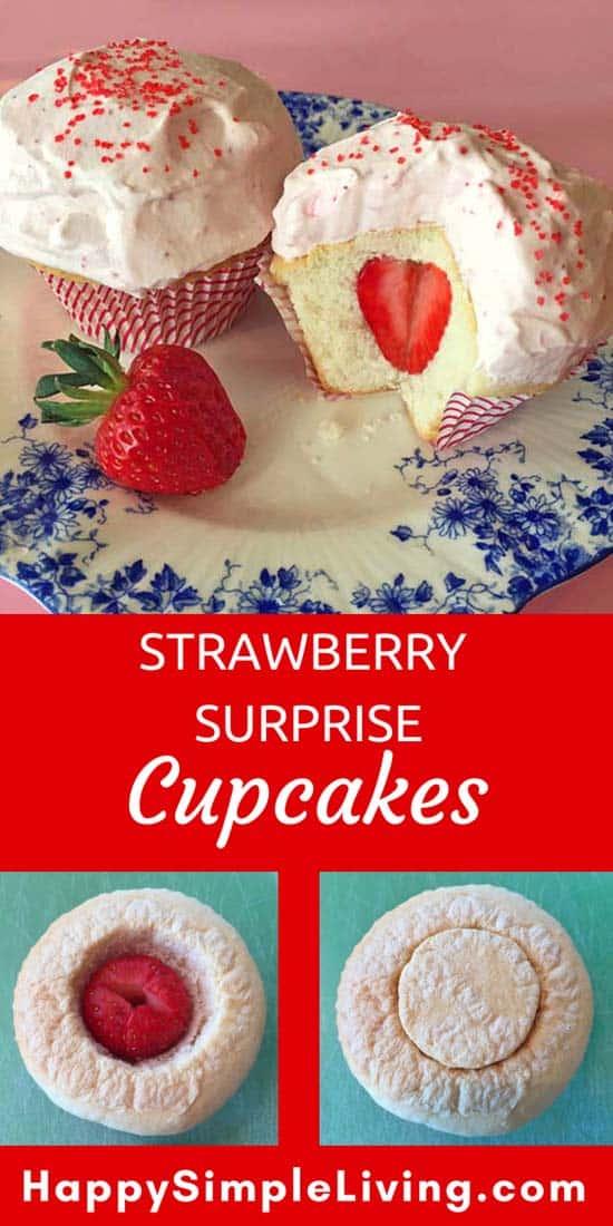 Strawberry Surprise Cupcakes | #baking #strawberries #cupcakes #berries