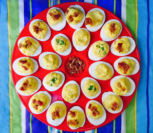 Bacon Deviled Eggs are creamy, light and topped with crunchy bacon.