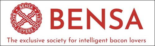 BENSA Bacon Lovers Society logo and tagline, the society for intelligent bacon lovers